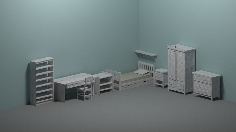 Room furniture royalty-free 3d model - Preview no. 3