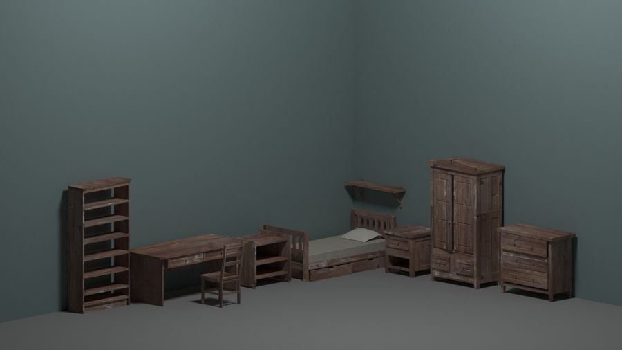 Room furniture royalty-free 3d model - Preview no. 2