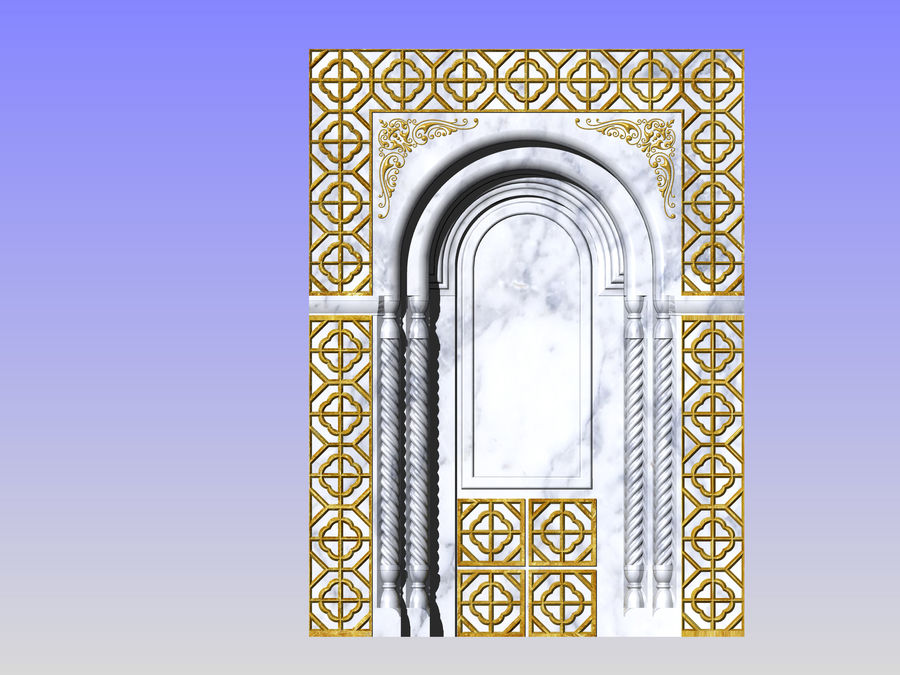 ancient window ancient door royalty-free 3d model - Preview no. 7