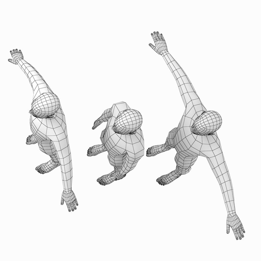 Male Body Base Mesh In 3 Poses With Detailed Head And Limbs 3d Model 16 Unknown Max Obj Fbx 3ds Free3d
