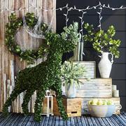 Topiary decor set 3d model
