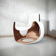 흰색 나무 곡선 의자 3d model