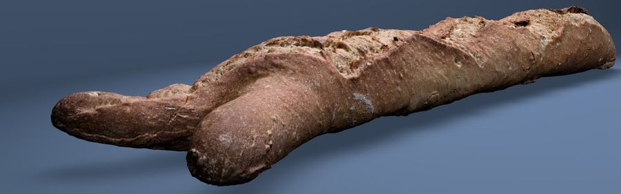 bread (baguette) royalty-free 3d model - Preview no. 3