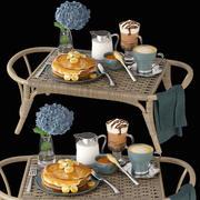 Lit et petit-déjeuner 3d model