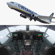 Боинг 737-900 с интерьером и кабиной Ryanair Rigged 3D Model 3d model