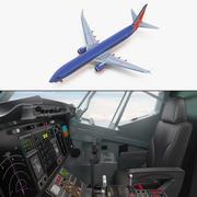 Boeing 737-900 com interior e modelo 3D da Southwest Airlines no cockpit 3d model