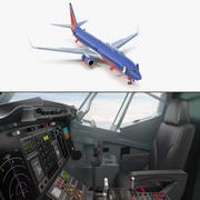 Боинг 737-900 с внутренней и кабиной экипажа 3D-модели Southwest Airlines 3d model