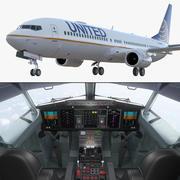 보잉 737-900, 인테리어 및 조종석 유나이티드 항공 3d model