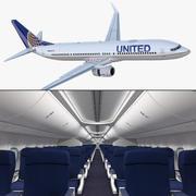 Боинг 737-900 с интерьером и кабиной экипажа 3D-модели United Airlines 3d model