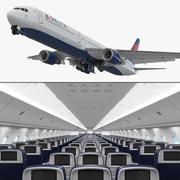 3D модель Boeing 767-400 с внутренним оборудованием Delta Air Lines 3d model
