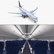 3D модель Boeing 737-900 с внутренним оборудованием и кабиной Delta Air Lines 3d model