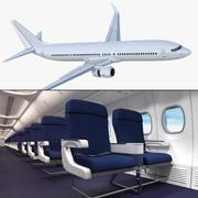 Boeing 737-900 с универсальной трехмерной моделью интерьера и кабины экипажа 3d model