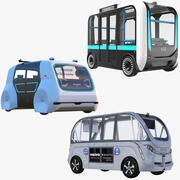 Kolekcja elektrycznych autobusów wahadłowych 3d model