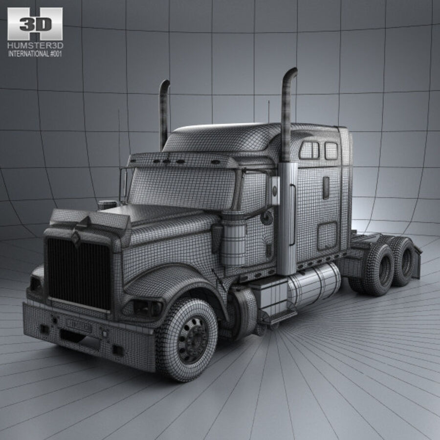 2004年国际9900i牵引车 royalty-free 3d model - Preview no. 3
