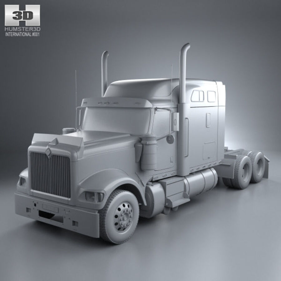 2004年国际9900i牵引车 royalty-free 3d model - Preview no. 11