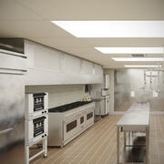 Commercial Kitchen With Cafe V6 3d model