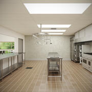 Commercial Kitchen With Cafe V7 3d model