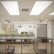 Commercial Kitchen With Cafe V9 3d model