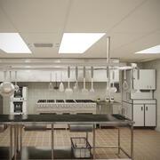 Commercial Kitchen With Cafe V10 3d model
