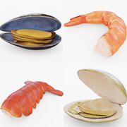 La collection de fruits de mer 3d model