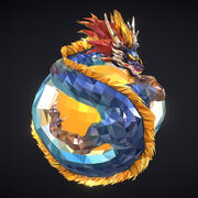 Blue Dragon Low Polygon Art Model 3D VR / AR / low-poly 3d model