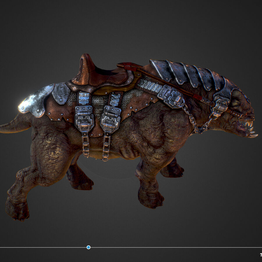 Creature mount Mastodont royalty-free 3d model - Preview no. 33