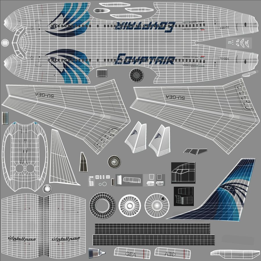 Boeing 737800 EgyptAir royalty-free 3d model - Preview no. 24