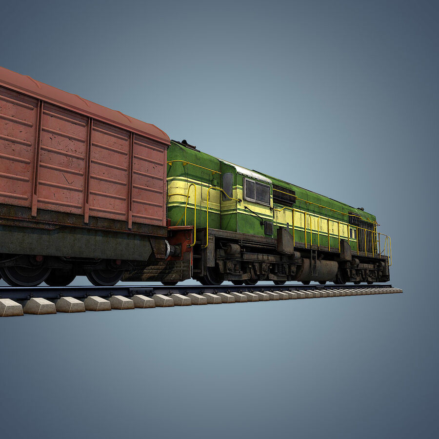 Treno merci royalty-free 3d model - Preview no. 15