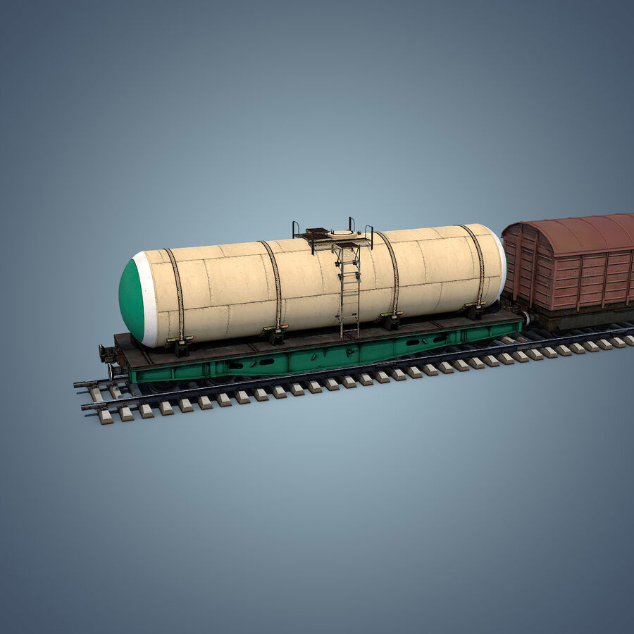 Treno merci royalty-free 3d model - Preview no. 7