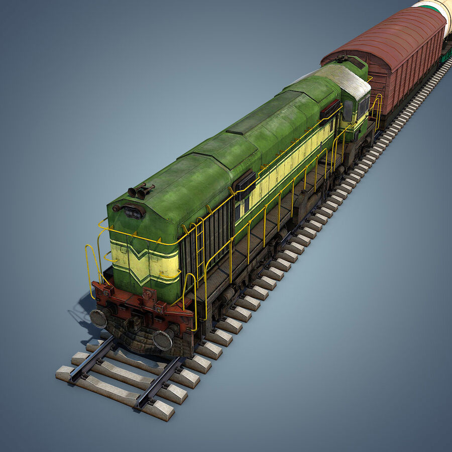 Treno merci royalty-free 3d model - Preview no. 17