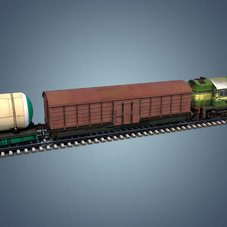 Treno merci royalty-free 3d model - Preview no. 8