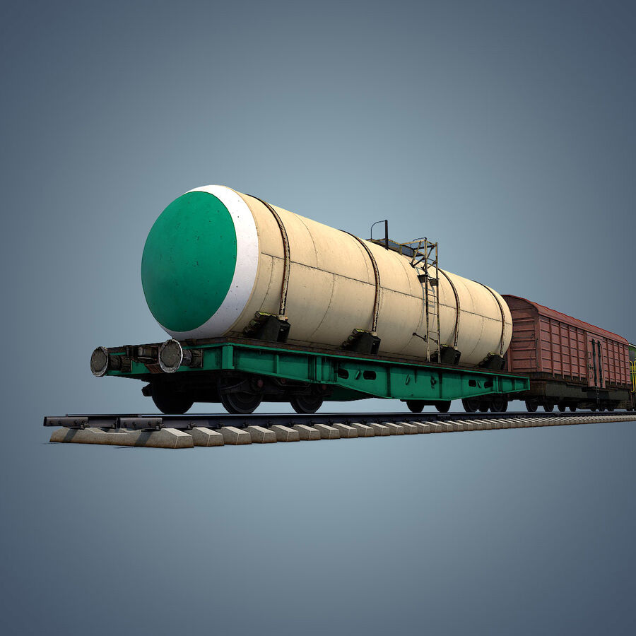 Treno merci royalty-free 3d model - Preview no. 14