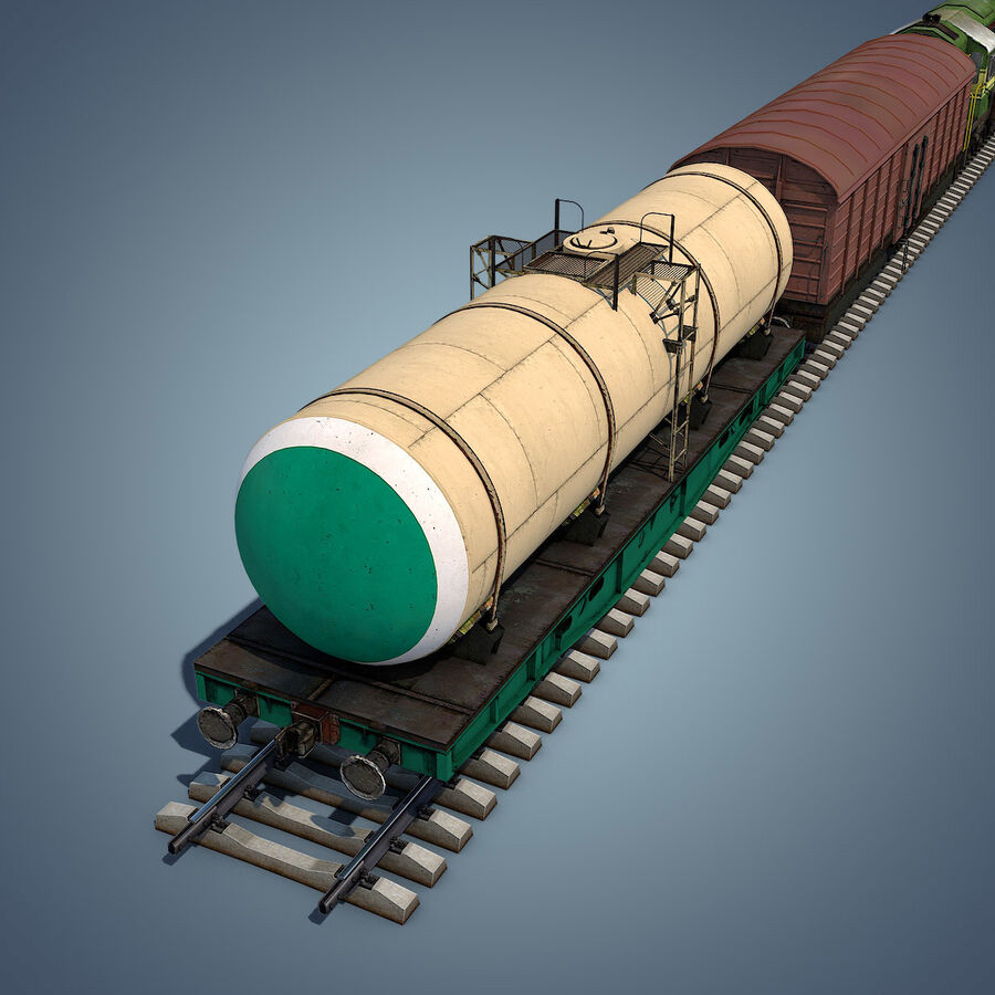 Treno merci royalty-free 3d model - Preview no. 16