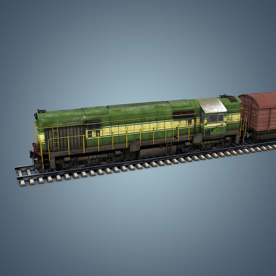 Treno merci royalty-free 3d model - Preview no. 6