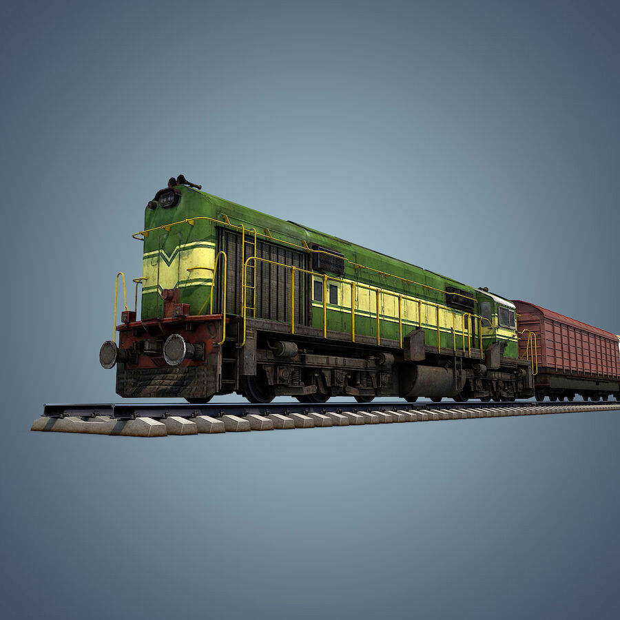 Treno merci royalty-free 3d model - Preview no. 13
