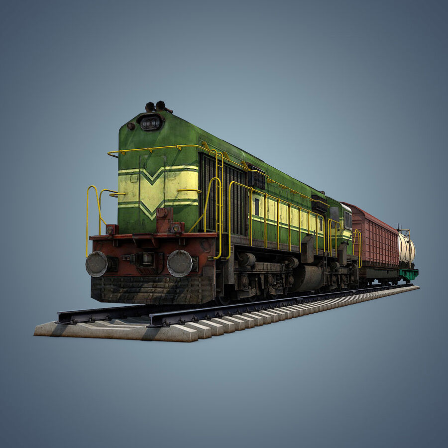 Treno merci royalty-free 3d model - Preview no. 4