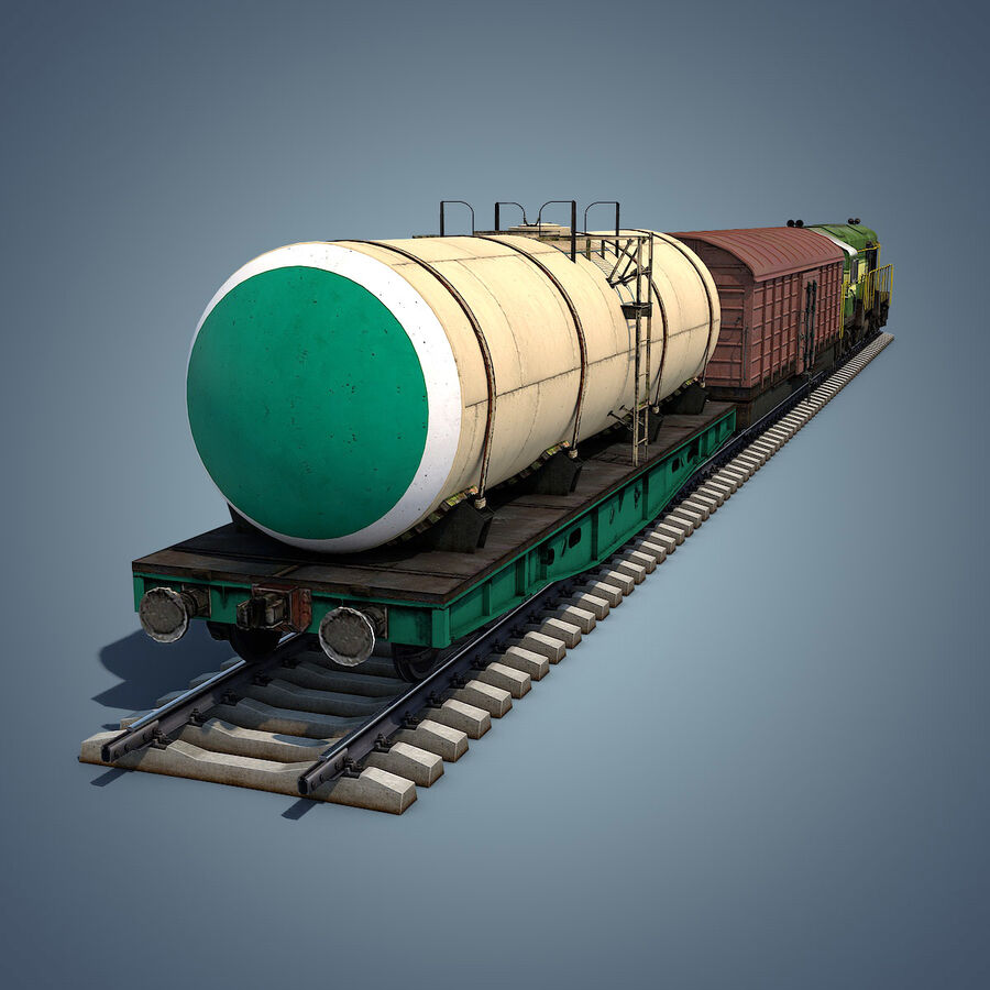 Treno merci royalty-free 3d model - Preview no. 3