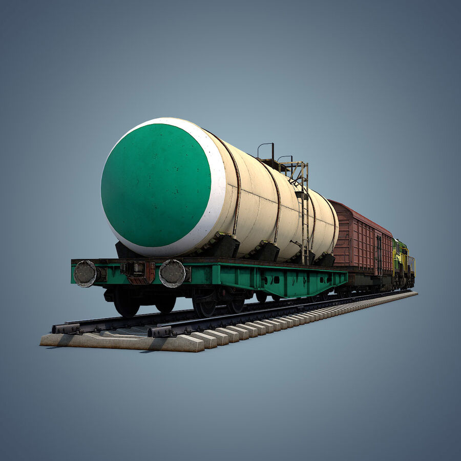 Treno merci royalty-free 3d model - Preview no. 5