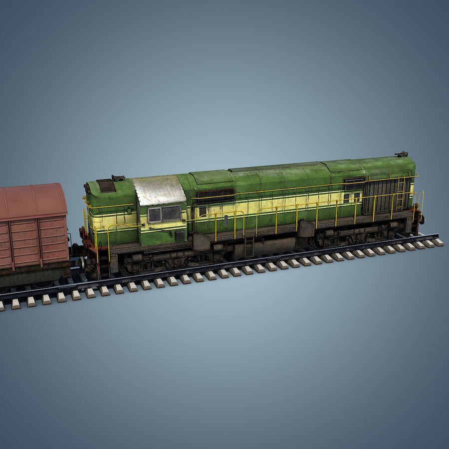 Treno merci royalty-free 3d model - Preview no. 9
