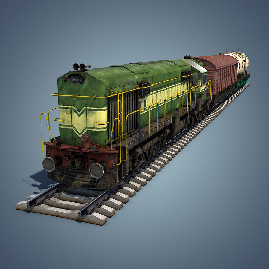 Treno merci royalty-free 3d model - Preview no. 2