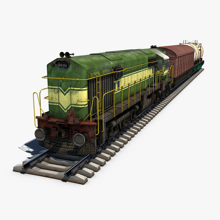 Treno merci royalty-free 3d model - Preview no. 1