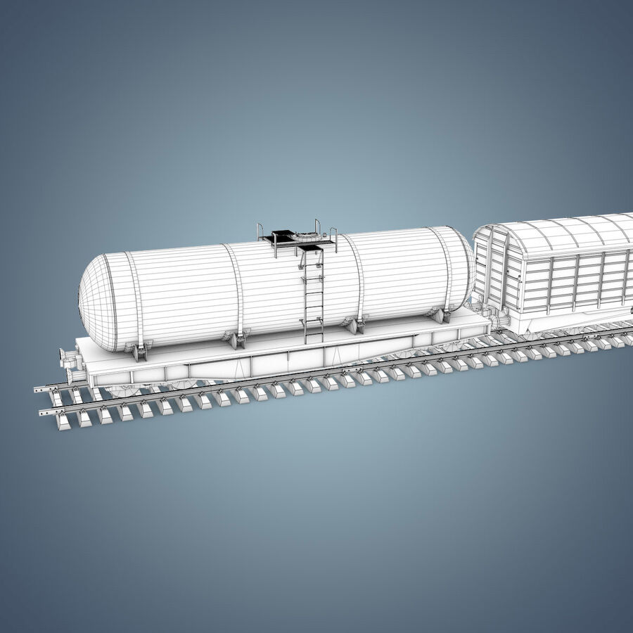 Treno merci royalty-free 3d model - Preview no. 20