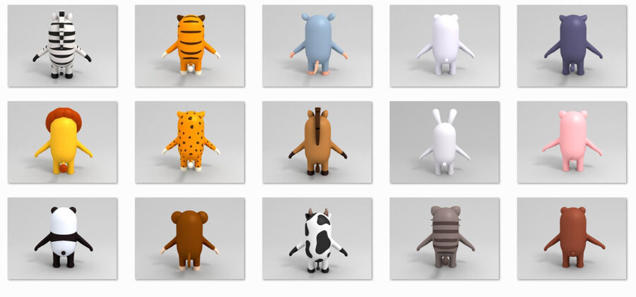Cartoon Animal Rigged Pack royalty-free 3d model - Preview no. 14