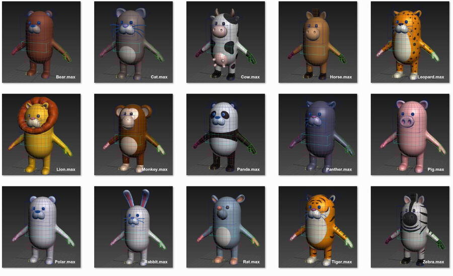Cartoon Animal Rigged Pack royalty-free 3d model - Preview no. 2