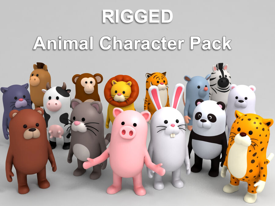Cartoon Animal Rigged Pack royalty-free 3d model - Preview no. 1