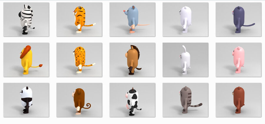Cartoon Animal Rigged Pack royalty-free 3d model - Preview no. 15