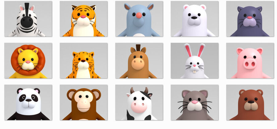 Cartoon Animal Rigged Pack royalty-free 3d model - Preview no. 11