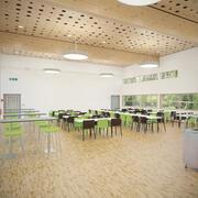 Detal fotorealistyczne umeblowane wnętrze kafeterii z kuchnią 3d model