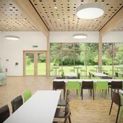 Detalj fotorealistisk möblerad kafeteriainredning med kök V2 3d model