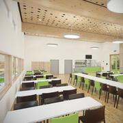 Detal fotorealistyczne umeblowane wnętrze kafeterii z kuchnią V3 3d model